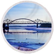 Bridges Over The Mississippi Round Beach Towel