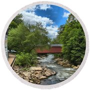 Bridging Slippery Rock Creek Round Beach Towel
