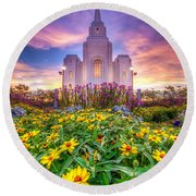 Brigham City Temple Round Beach Towel by Dustin  LeFevre