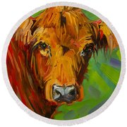 Bright And Beautiful Cow Round Beach Towel