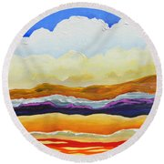 Round Beach Towel featuring the painting Bright As A Cumulus Cloud by Dan Whittemore