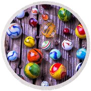 Bright Colorful Marbles Round Beach Towel