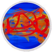 Round Beach Towel featuring the digital art Bright Fish In Blue Water by Stephanie Grant