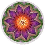 Round Beach Towel featuring the digital art Bright Flower by Lilia D