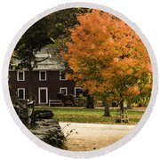 Bright Orange Autumn Round Beach Towel by Jeff Folger