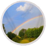 Round Beach Towel featuring the photograph Bright Rainbow by Kathryn Meyer