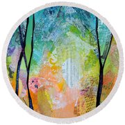 Bright Skies For Dark Days I Round Beach Towel