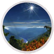 Bright Sun In Morning Cheat River Gorge Round Beach Towel