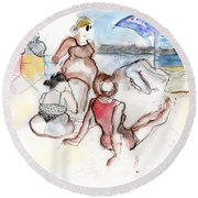 Brighton Beach On A Windy Day Round Beach Towel