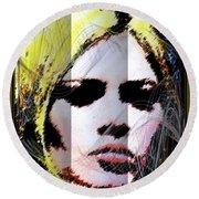 Round Beach Towel featuring the digital art Brigitte Bardot by Daniel Janda