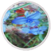 Round Beach Towel featuring the photograph Brilliant Blue Flowers by Cathy Anderson
