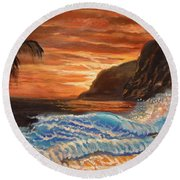 Brilliant Hawaiian Sunset 1 Round Beach Towel by Jenny Lee