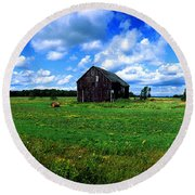 Brimley Farm Near  Sault Ste Marie Michigan  Round Beach Towel