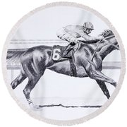 Bring On The Race Zenyatta Round Beach Towel