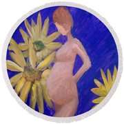 Round Beach Towel featuring the painting Bringer Of Life by Marisela Mungia
