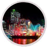 Brisbane City Of Lights Round Beach Towel
