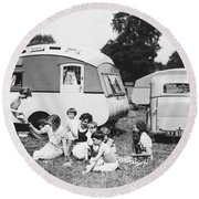 British Caravan Campers Round Beach Towel