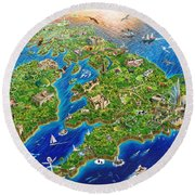 British Isles Round Beach Towel by Adrian Chesterman