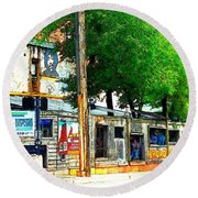 Broadway Oyster Bar With A Boost Round Beach Towel