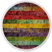 Brocade And Stripes Tower 1.0 Round Beach Towel