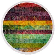 Brocade And Stripes Tower 2.0 Round Beach Towel