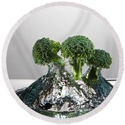 Broccoli Freshsplash Round Beach Towel by Steve Gadomski
