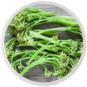 Broccoli Stems Round Beach Towel