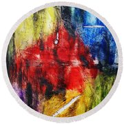 Round Beach Towel featuring the painting Broken 4 by Michael Cross