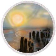 Round Beach Towel featuring the digital art Broken Dock by Christine Fournier