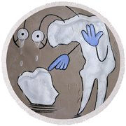 Round Beach Towel featuring the painting Broken Tooth by Anthony Falbo