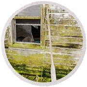 Round Beach Towel featuring the photograph Broken Window by Mary Carol Story