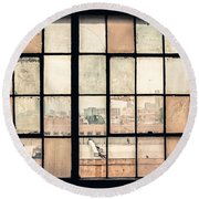 Broken Windows Round Beach Towel