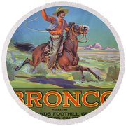 Bronco Oranges Round Beach Towel