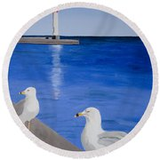 Bronte Lighthouse Gulls In Oil Round Beach Towel