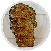 Bronze Sculpture Of President Kennedy In The Kennedy Center In Washington D C  Round Beach Towel