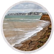 Brook Bay And Chalk Cliffs Round Beach Towel