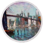 Brooklyn Bridge And Twin Towers Round Beach Towel