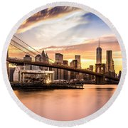 Brooklyn Bridge At Sunset  Round Beach Towel