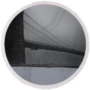 Brooklyn Bridge Blizzard Round Beach Towel