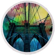 Psychedelic Skies Round Beach Towel