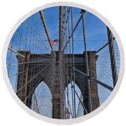 Round Beach Towel featuring the photograph Brooklyn Bridge by David Gleeson