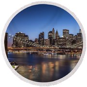 Brooklyn Bridge Round Beach Towel by Mihai Andritoiu