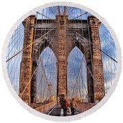 Round Beach Towel featuring the photograph Brooklyn Bridge by Paul Fearn