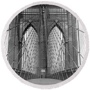 Brooklyn Bridge Promenade Round Beach Towel