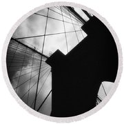 Brooklyn Bridge Silhouette Round Beach Towel