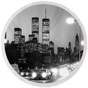Brooklyn Bridge Traffic II Dusk 1980s Round Beach Towel by Gary Eason