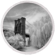 Brooklyn Bridge Willows Round Beach Towel