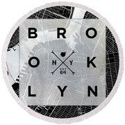 Brooklyn Square Bw Round Beach Towel