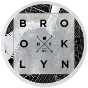 Brooklyn Square Bw Round Beach Towel by South Social Studio