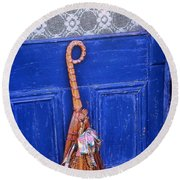 Round Beach Towel featuring the photograph Broom On Blue Door by Rodney Lee Williams
